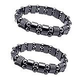 Fitness Armband Magnet Hämatit-Metallmagnetfeldtherapie Armbänder 2pcs zum Körperliche Gesundheit...