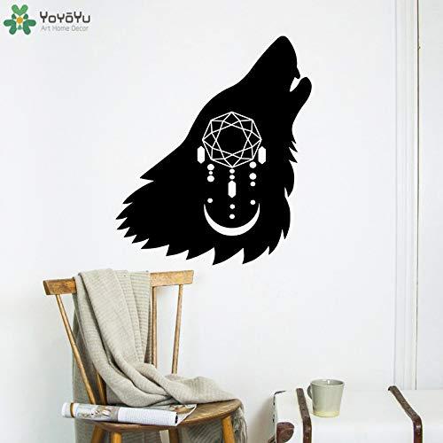 zqyjhkou Lobo Animal Dreamcatcher Etiqueta de La Pared Diseño Arte Vinilo Kids Room Poster Luna Predator Modern Home Decor Ct674 57x66cm