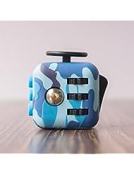 Cubo antiestrés con 6 funciones distintas (Fidget Cube) V2 Gran calidad , Camuflaje Azul
