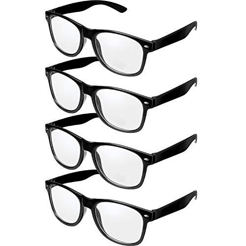 4 Paar Retro Schwarz Rahmen Brille Klare Linse Brillen Nerd Brille für Halloween Kostüm - Nerd Halloween Kostüm