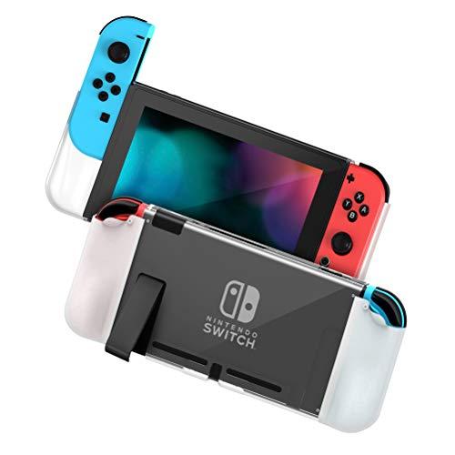Zecti [Aktualisiert] Schutzhülle für Nintendo Switch, PC + TPU Griffabdeckung Schalter für Konsole und Joy-Con Controller, Anti-Rutsch Nintendo Switch Zubehör Cover Grip Case (Weiß)