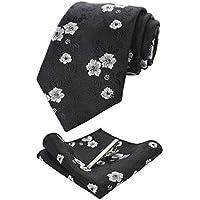 RBOCOTT Floral Tie and Pocket Square,Tie clip set for Men