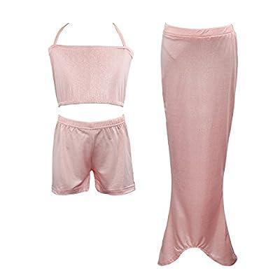 Las niñas se puede nadar Colas de la sirena Disfraz Mar-criada cabestro arriba del bikini del traje de baño del vestido del traje de baño Calzoncillos hasta 2-10 años(Rosa,90(2-3años))