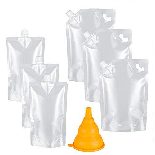 Kichwit Trinkflaschen aus Kunststoff, wiederverwendbar, BPA-frei, 3 x 32oz + 3 x 454 ml, 1 x Silikon-Trichter im Lieferumfang enthalten farblos