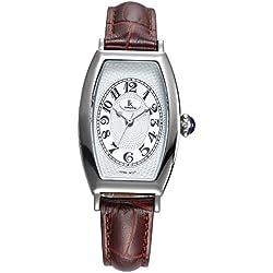 Fashion Simple Creative Rectangle Leather Strap Quartz Women Wrist Watch,White-Brown