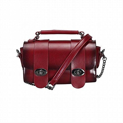 Damen Tasche Kette Messenger Bag Doppel Schnalle Schulter Kleine Quadratische Tasche Mode Wilde Handtasche Einfache Tasche , rot -
