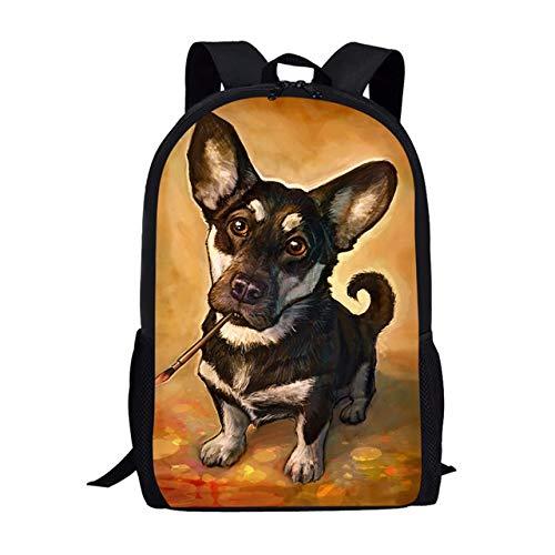OOGUOSHENG Neueste Corgi Hund Malerei Design Jungen Schultaschen Reißverschluss Große Bookbags Studenten Schulter Rucksack Rucksack -1 (Corgi Malerei)
