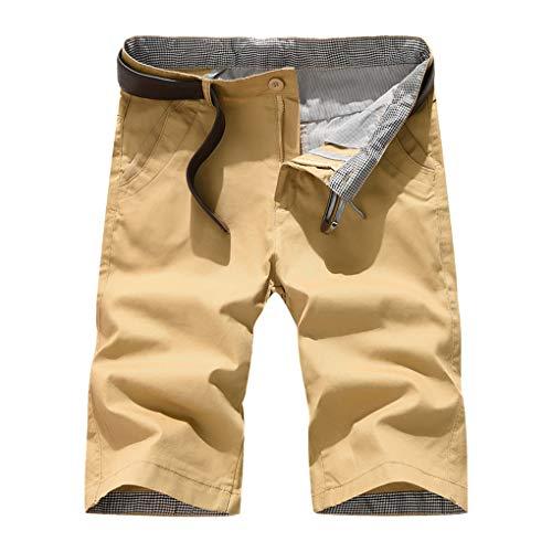 Große Größe Gerade Shorts für Herren/Skxinn Männer Sommer Kurze Hose Übung Overalls Freizeithosen Casual Sport Slim Fit Hosen Regular Fit S-7XL Ausverkauf(Khaki,Medium) -