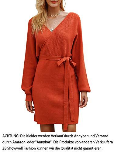 Annybar Damen Kurz Strickkleid Herbst Rückenfrei Langarm Kleid Orange - S
