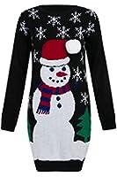 Ladies Women Christmas Jumper Sweater XMAS Snowman Long Oversize Knitwear Top