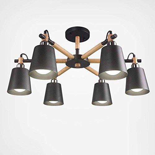 6/3 Lite Kronleuchter Lampe (SED Deckenleuchte - Nordic kreative Massivholz Lampe Körper Eisen Lampenschirm schwarz hoher Licht Kronleuchter einfache Studie 3/6/8-Lampe -Home warme Deckenleuchte,B-6-lights-Dreifarbiges Dimmen)