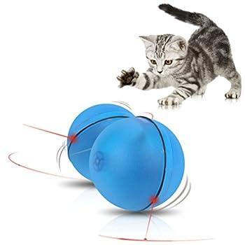 UEETEK Balle pour Chat Jouet pour Chat Interactif Balle Lumineuse LED Jouet Electronique Automatique pour Chat (Bleu)
