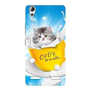Kitty Coffee Multicolor Back Case Cover for Lenovo A6000 Plus