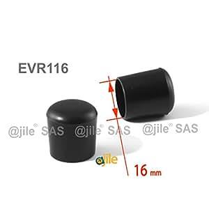 ajile - 12 pièces - Embout enveloppant rond pour tubes de diam. 16 mm - NOIR - EVR116-M