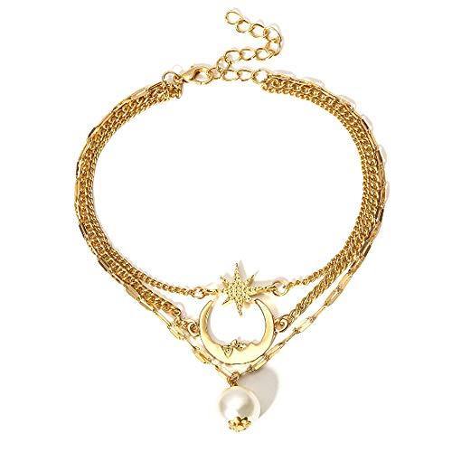 ette Imitation Pearl Star und Mond Kristall Kette Armband Fuß Fußkettchen Set Frauen (Gold) ()