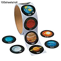 Xiton 100 PCS/Roll Creative Solar System Stickers Realistic Planet Outer Space Sticker Self Adhesive Craft Stickers Space Themed Stickers School Stationery Party Favor For Kids