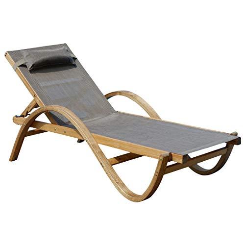 ASS Sonnenliege Gartenliege Holzliege Paraiso aus Holz Lärche mit Kopfpolster