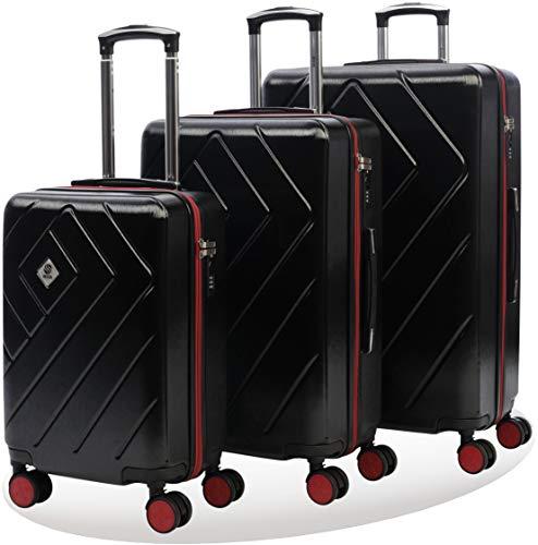 Set di valigie rigide con doppie rotelle girevoli | superficie antigraffio in policarbonato + abs | lucchetto tsa integrato | valigia donna/uomo | set trolley 3 pezzi pc+abs 55 cm 68 cm 78cm | nero