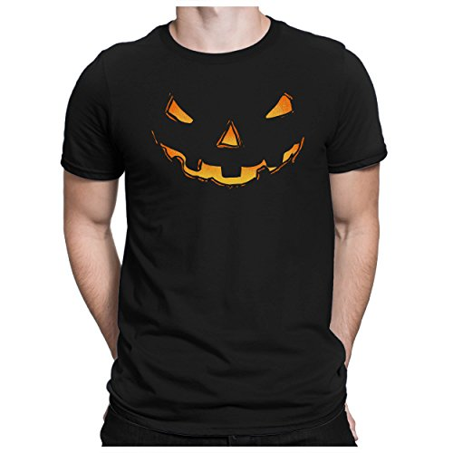 PAPAYANA - PUMPKIN-HEAD - Fun T-Shirt Kurzarm - Halloween Kürbiskopf Es Horror Kostüm - , M, (Einfach Jigsaw Kostüm)