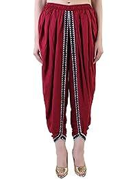 Khazana Basics Maroon Rayon Dhoti Pant, Patiala Dhoti Salwar for Women, Girls (JTDHS6401, Maroon)