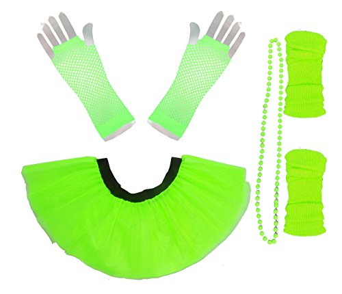 Honey B's® Neon Green UV Tutu Set for 80s and Hen Party Dress-Up - UK 16-22