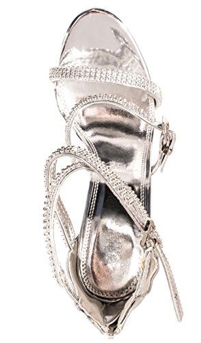 Femmes sandales soirée talons hauts talons Chaussures Silber Glitzer