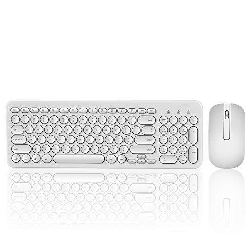YIZHEN T85 Wireless Retro Round Keycap 104 Tasten Tastatur + optische Maus spritzwassergeschützt für Laptop-Computer,White -