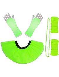 Honey B's Neon Tutu Set Beads 80'S Fancy Dress 4 Layer 1980's Hen Party Necklace Flo (One Size - UK 10-14, Flo Green)
