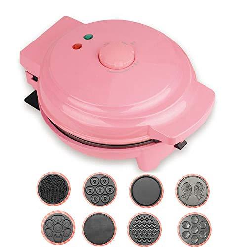 Danniers Sandwichmaker | Herzwaffeleisen | Tisch-Grill | Antihaftbeschichtet | 750W (Farbe : Pink, Muster : 6 in 1)