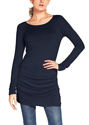 Urban GoCo Damen Langarmshirt Stretch Lang T-Shirt Navy Blau