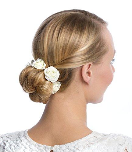 SIX Haargummi: Haarschmuck mit Rosen aus Stoff, perfekt für den Dutt, fester Halt, ideal für Hochsteckfrisuren, für festliche Anlässe, creme (313-656) - Rose Haargummi