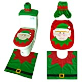 HBSHE 3Pcs/Set Bathroom Christmas Cartoon Toilet Seat Cover Cap Rug Christmas Rugs Toilet Seats Flannel Decoration