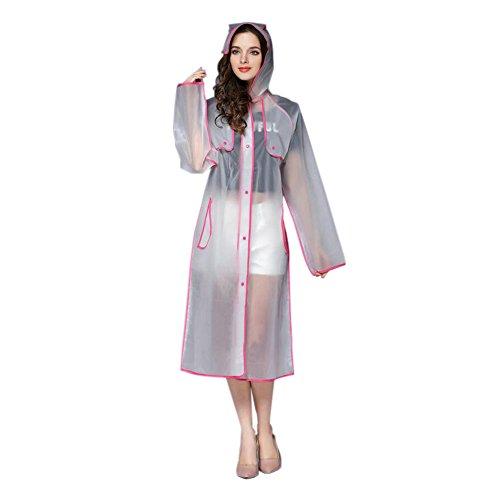 Hzjundasi Femmes À la mode EVA Transparent Imperméable Longue Sports Portable Vêtements de pluie Encapuchonné Poncho De plein air Sports Randonnée Raincoat Rose