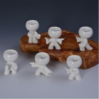 CUPWENH Yuk-Tasses Taiji Kongfu Kid 6 Tasses De Thé En Porcelaine Pièce Modèle De Trousse Avec Cadre?Services À Café Thé Service De Table Porcelaine