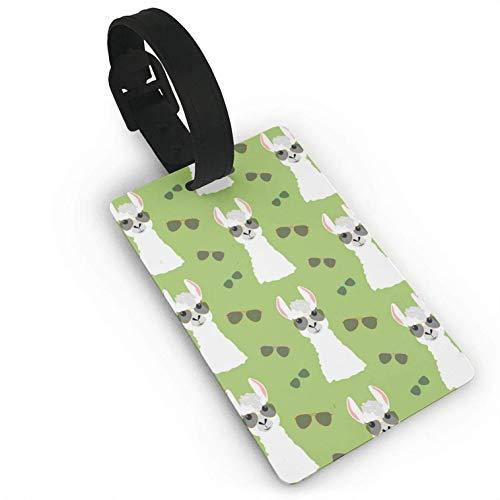 Llama in Aviator-Brille, nahtloses Muster, bunt Bedruckte ID-Tags Visitenkartenhalter für Gepäck, Reise-Identifikation, Gepäckanhänger für Damen und Herren