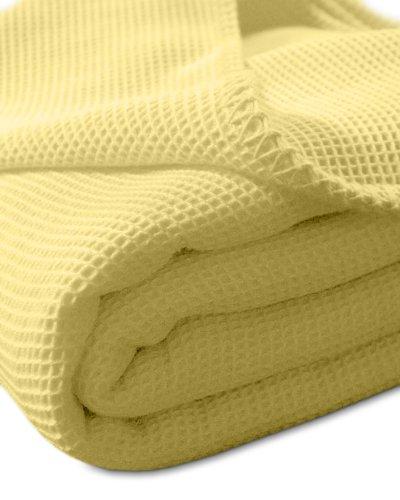 Kneer 9152214 La Diva Waffelpique-Decke mit Ziersticheinfassung 220/240 cm, sonne