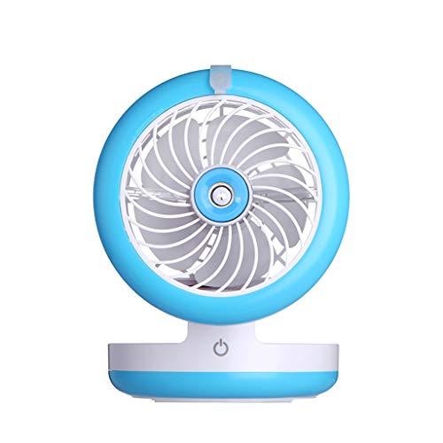 CAOQAO Mini pulverizador Ventilador USB Carga portátil Humidificador pequeño Ventilador Viento Grande Aire Acondicionado (Azul)