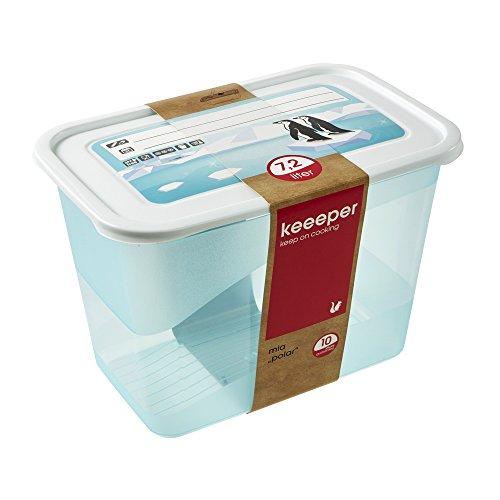 keeeper Tiefkühldose, Wiederbeschreibbarer Deckel, 29 x 19 x 20 cm, 7,2 l, Mia Polar, Eisblau Transparent