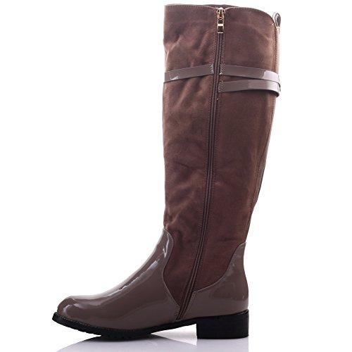 Unze Femmes de Torado 'élégant genou haute hiver Chaussures Bottes Beige