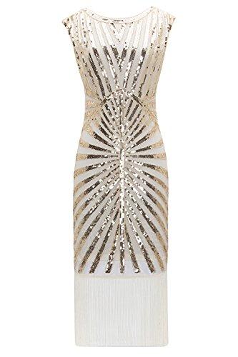 Metme Mujeres Franja decorativa del vestido de cóctel largo clásico de los años 20 adornada para la fiesta de Gatsby cómplice guateque parte indumentaria