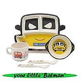 Gear.Extreme Kindergeschirr Set Bambus Batman Figur 100% Umweltfreundlich Spülmaschinenfest Geschirr Kinderteller Kinderbesteck Kinderschüssel Müslischale Tafelservice Trinkbecher Kinderservice