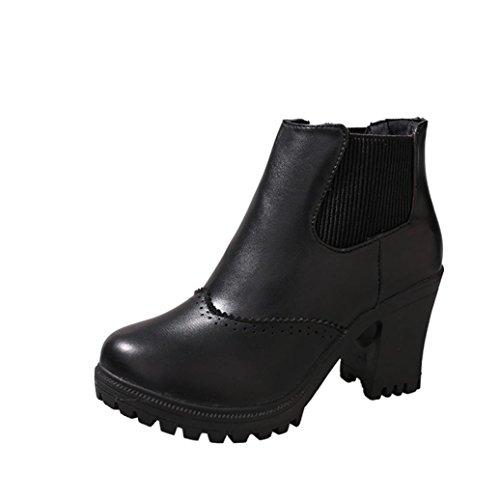 Damenschuhe FORH Damen Winter Kurz High Heel Martin Stiefel Boots Klassischer Plateau Stiefel warm Kunstleder Winterschuhe mit Blockabsatz Schuhe (40, (Billig Stiefel Plateau)