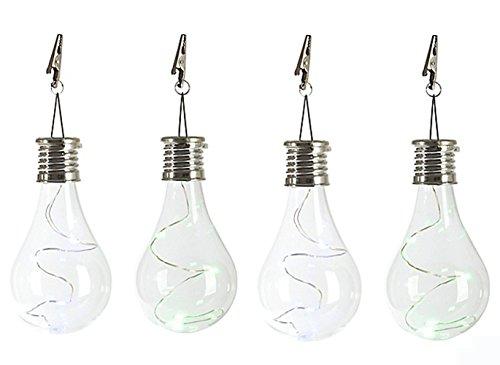 UniqStore 4er Set Solar Glühbirne transparent Glühbirne LED Glas Solarleuchte für Garten , Terrasse , Balkon und Party