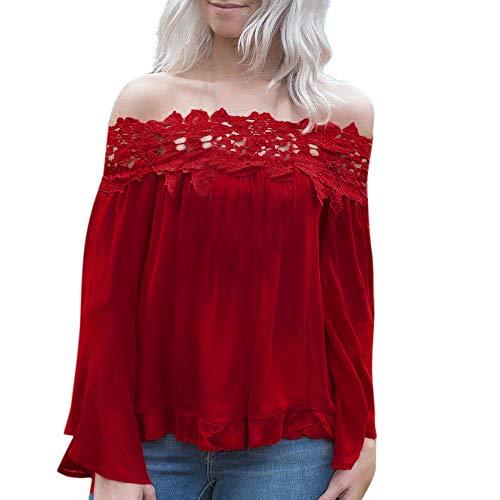 (TianWlio Langarm Bluse Damen Frauen Mode Lässige Langarm Aufflackern Ärmel Weg von der Schulter Spitze Applique Blusen Oberseiten)
