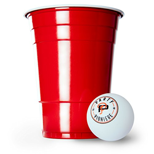 Party Pioniere 100 Rote Becher + 6 Beer Pong Bälle + Gratis E-Book Guide | Premium Beer Pong Becher (16oz/473ml) | Red Cups als Party Zubehör | Rote Partybecher im Beer Pong Set by -