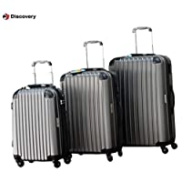 Discovery Smart Luggage Anti Scratch with Built-in Scale & 100m Chip Tracker, 3 Piece Set - RA808, Grey