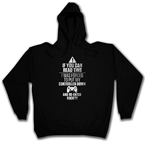 IF YOU CAN READ THIS HOODIE HOODED PULLOVER SWEATER SWEATSHIRT MAGLIONE FELPE CON CAPPUCCIO – Sizes S – 2XL Nero