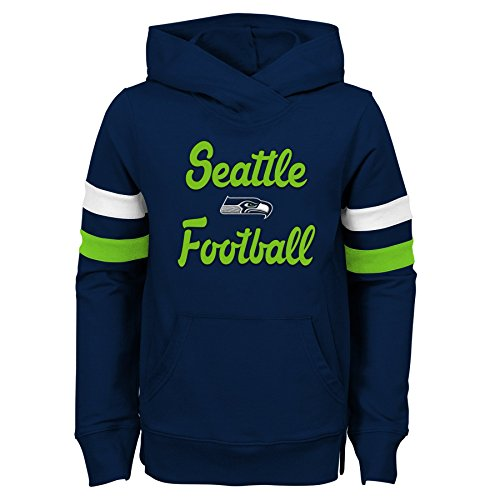 Outerstuff NFL Seattle Seahawks Jugend Mädchen Claim to Fame Overlay Hoodie, Mädchen, 9K1G6FACI SEA B41-GXL16, Dunkles Marineblau, Youth Girls X-Large(16) Overlay-pullover Hoodie
