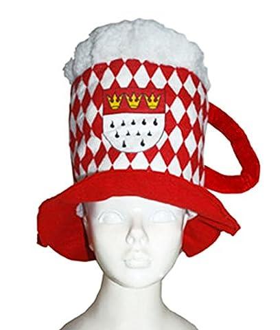 erdbeer-clown - Karneval Accessoire Bierglas-Hut, Bembel mit Kölner Wappen, Rot (Hula Boy Kostüm)
