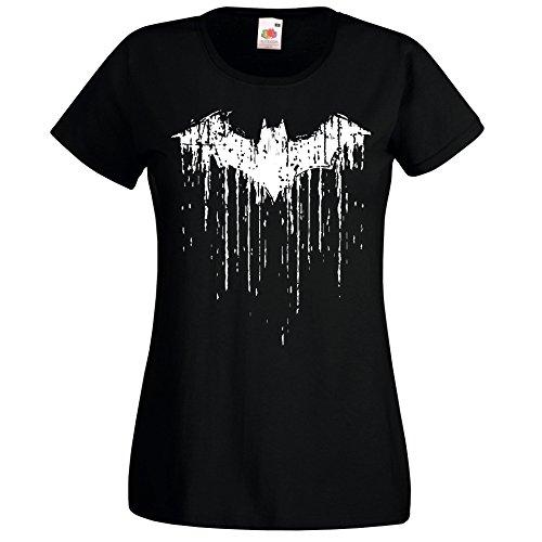 (TRVPPY Damen T-Shirt Modell Vintage Batman 2 Farbe Schwarz Größe M)